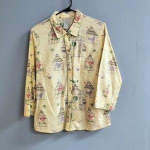 Anthropologie Odille Birdcage Button Down Shirt